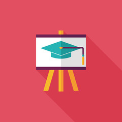 Graduation hat on the blackboard flat icon with long shadow,eps1