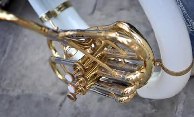 Dettaglio dei pistoni di un corno francese
