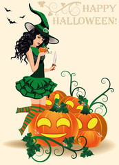 Happy Halloween card. Young witch and pumpkins