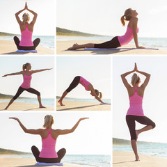 Collage of different yoga poses practiced by young woman