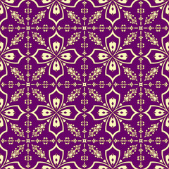 Gold on purple floral pattern