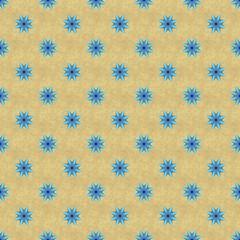 Bblue seamless star pattern on yellow ochre textured background