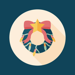 Christmas Holly Wreath flat icon with long shadow,eps10