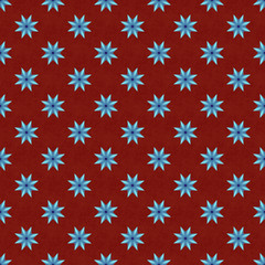 Neon blue seamless star pattern on mahogany seamless background
