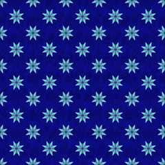Neon blue seamless star pattern on blue textured background