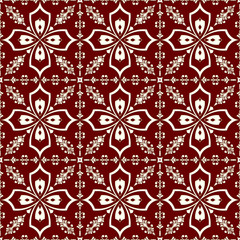 White-on-red floral pattern seamless background