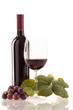 canvas print picture - Rotwein im Glas mit Frucht, Blätter und Weinflasche