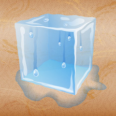 Abstract sand background with ice cube.