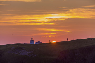 sunset and lighthouse, Cape St. Mary's, Newfoundland