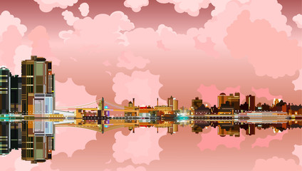 Glowing city with reflection in the river, pink sky