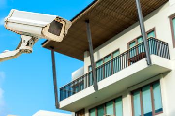 CCTV camera or surveillance operating with corridor apartment in