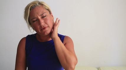 Woman having earache