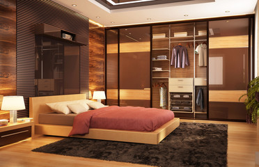 Modern bedroom with wardrobe
