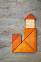 abstract tangram lighthouse