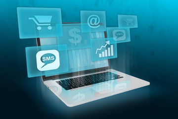 Modern business and shopping online.