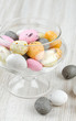 candies in a glass dish on wooden table