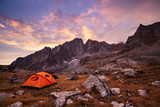 Tourist camping in the mountains