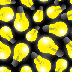 yellow light bulbs - light source seamless pattern eps10