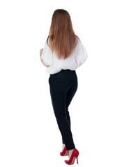 running business woman. back view. going young girl in  suit. Re