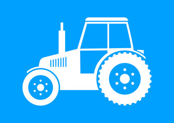 White tractor icon on blue background