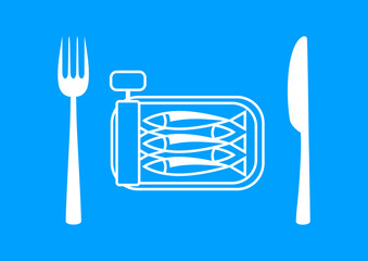 White sardines with cutlery on blue background