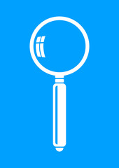 White magnifier icon on blue background