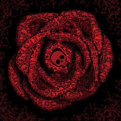 Red rose of skulls and bones