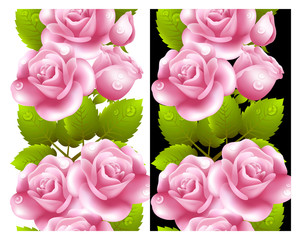 Vertical seamless background with red roses.