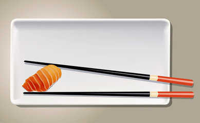 Vector of Salmon Nigiri Sushi