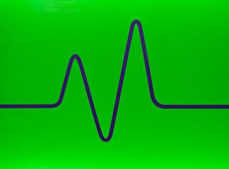 Grüne Fläche mit einer dunkelblauen grafischen Linie
