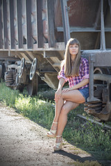 Beautiful girl on the railway