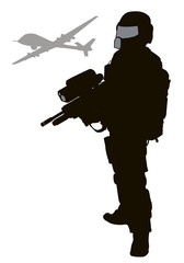 Future soldier with drone. Vector silhouette