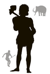 Cave man hunting. Vector silhouette