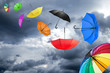 Leinwandbild Motiv flying umbrellas