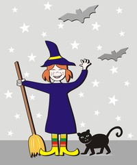 Halloween, girl and cat