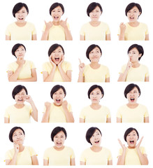 asian young woman making different facial expressions