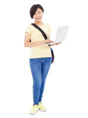 Smiling young woman holding a laptop over white background