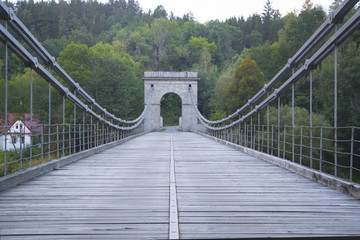 Old chain bridge over the river Luznice in the Czech republic