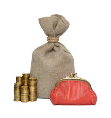 Bag, coin and purse.