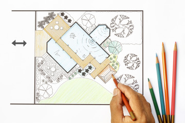 Landscape Architect design water garden  plans for backyard