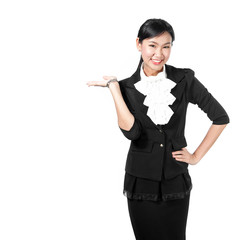Young business woman present object