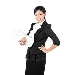 Young pretty business woman holding pile of document