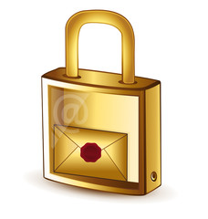 Folder with wax seal in a padlock. Security concept.