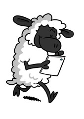 White Sheep Playing With A Tablet