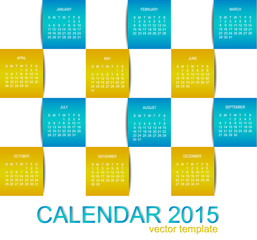 Vector template design - calendar 2015