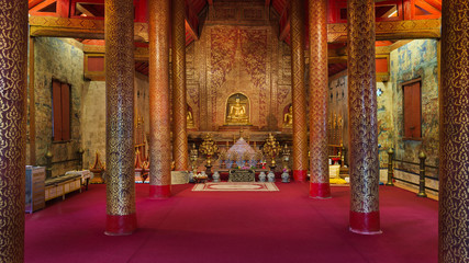 Hall Buddha statue interior An important and very old Wat Pha-si