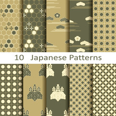 set of ten Japanese patterns