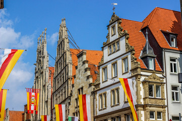 old monumental facades at Prinzipalmarkt in Munster, Germany