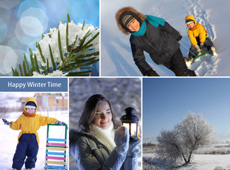 winter happy time collage