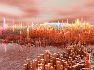 Città del futuro, grattacieli, fantascienza, astratto